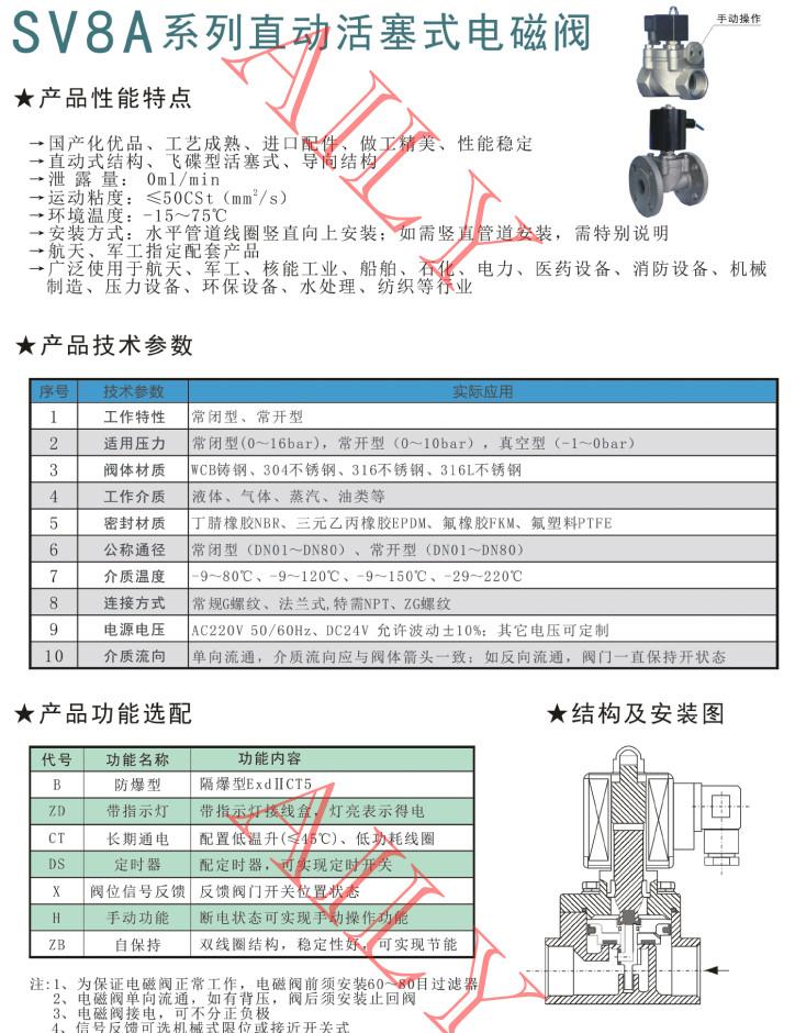 SV8A直动、直动活塞式电磁阀