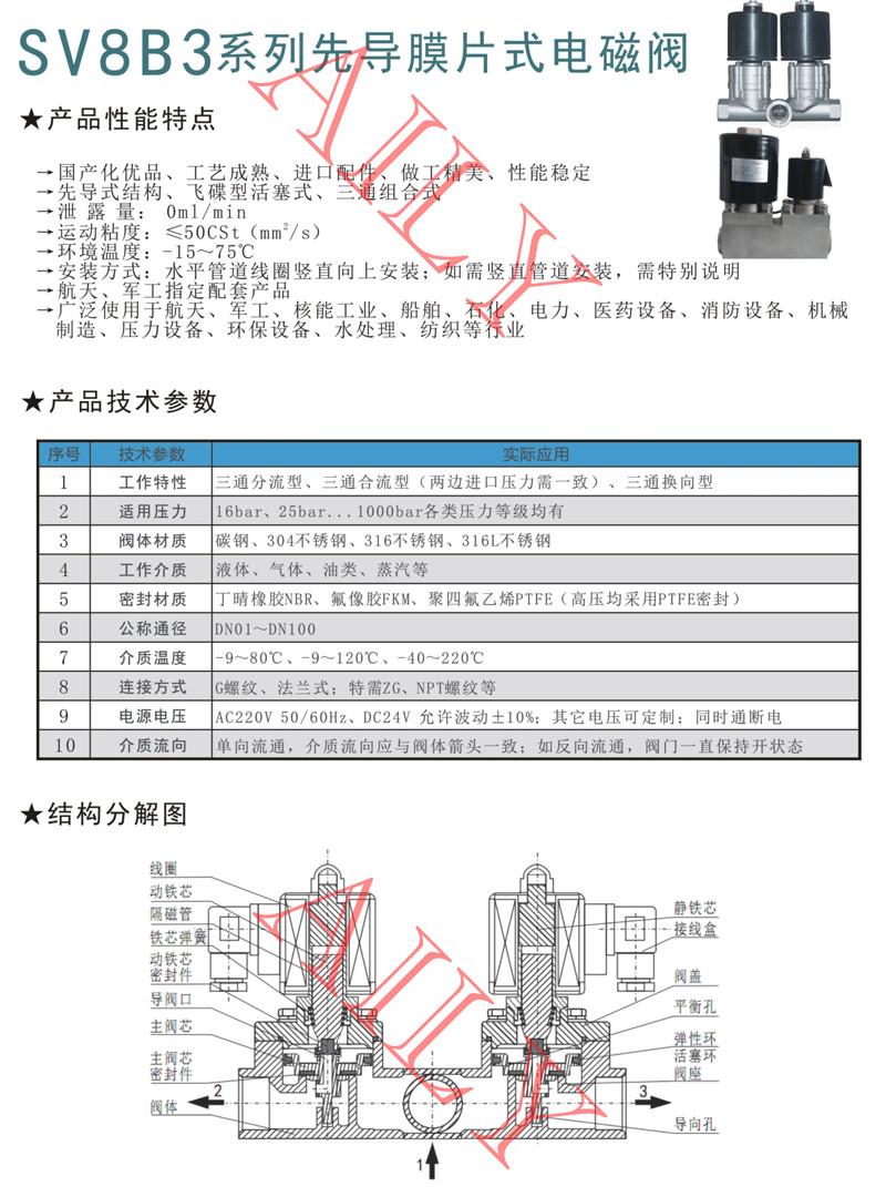 SV8B3活塞式三通组合电磁阀